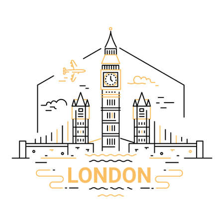 London - modern vector line travel illustration. Have a trip, enjoy your vacation. Be on a safe and exciting journey. An unusual composition with the tower, big ben, plane, cloud, river in the sky background, landmarks, journey, trip, vacation