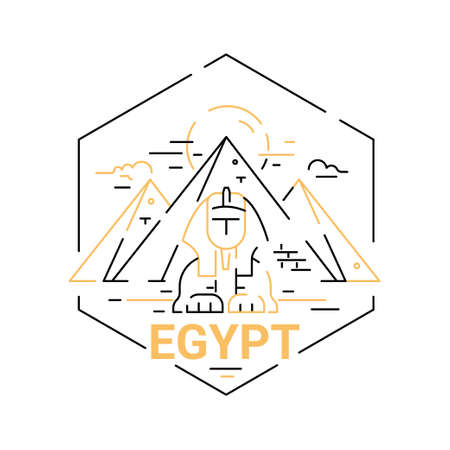 egypt anubis: Egypt - modern vector line travel illustration. Have a trip, enjoy your Egyptian vacation. Be on a safe and exciting journey. Landmark image. Sphinx, pyramid, cloud, sun, desert