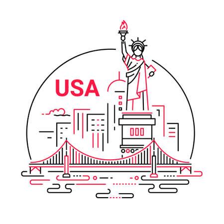 VS - moderne vector lijn reizen illustratie. Ga op reis, geniet van je Amerikaanse vakantie. Wees op een veilige en opwindende reis. Landmark-afbeelding. Een ongewone compositie met het Vrijheidsbeeld, Brooklyn bridge, New York, rivier in de lucht achtergrond Stockfoto - 78094708
