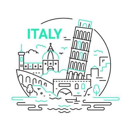 Italy - modern vector line round illustration. Have a trip, enjoy your Italian vacation. Be on a safe and exciting journey. Landmark image. Tower of Pisa, saint Peter Basilica, river, bridge, building, tree, cloud, sky Иллюстрация