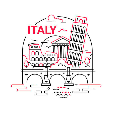 Italy - modern vector line arch illustration. Have a trip, enjoy your Italian vacation. Be on a safe and exciting journey. Landmark image. Colosseum, forum, tower of Pisa, river, bridge, building, tree, cloud, sky
