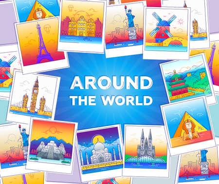 Rond de wereld - vector lijn reis illustratie Stockfoto - 78241401