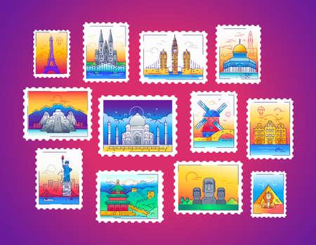 Postzegels - vector lijn reizen illustratie Stock Illustratie