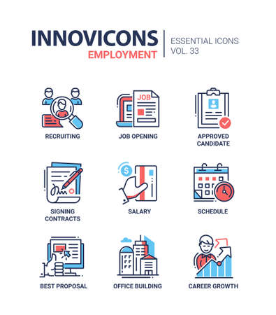 signing: Employment- modern vector line icons set