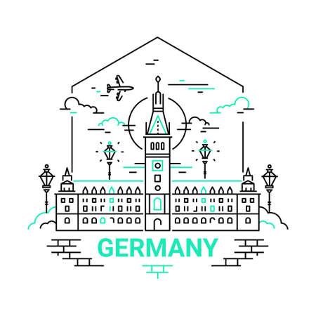 독일 - 현대 벡터 라인 여행 그림
