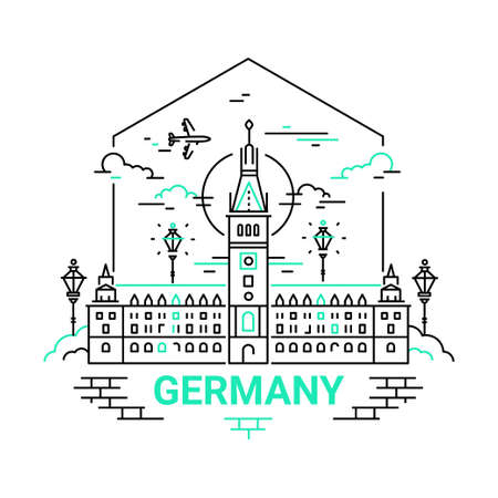 Germany - modern vector line travel illustration