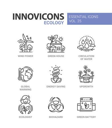 icon: Ecology - modern color vector single line icon set