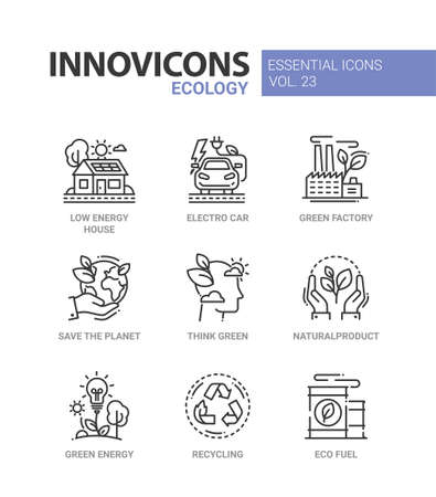 Ecology - modern color vector single line icons set