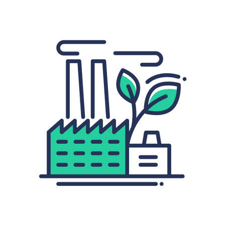 Ecology - modern vector single line icon. An image of a green power plant running on eco standards. Representation of ecology, saving the planet, clean industrialization.