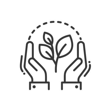 Plant of life - modern vector single line icon. An image of a green flower with hands around it . Representation of better future, hope, creation, eco lifestyle.