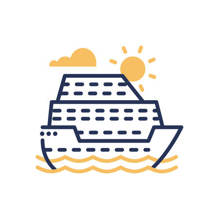 Passenger Ship - modern vector single line icon. An image of a liner in the sea, ocean, sun, clouds, water. Representation of travel, journey, vacation, rest, good time, fun. Illustration