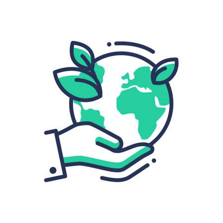 緑の地球 - 現代ベクトル単一行のアイコン。手の手のひらに惑星のイメージ、エメラルドを残します。自然、エコ、健康、エコのライフ スタイル、