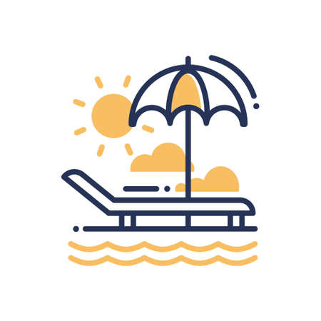 Chaise-longue - modern vector single line icon. An image of a deck-chair on a beach, an umbrella, sun, clouds, sea, ocean. Representation of relaxation, vacation, travel, good time