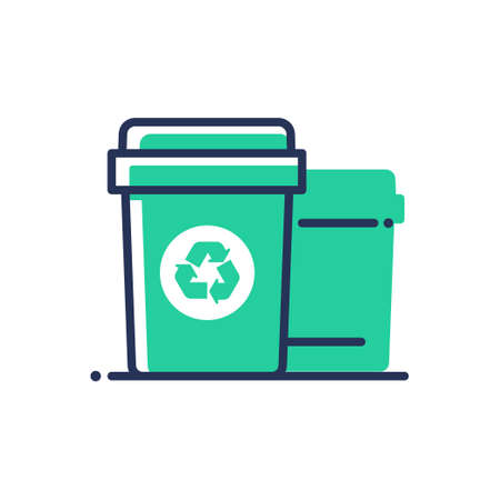 Recycle bin - modern vector single line icon. An image of a trash plastic container with a recycling logo. Representation of smart behavior, today, clean society, care and virtue Imagens - 78361223