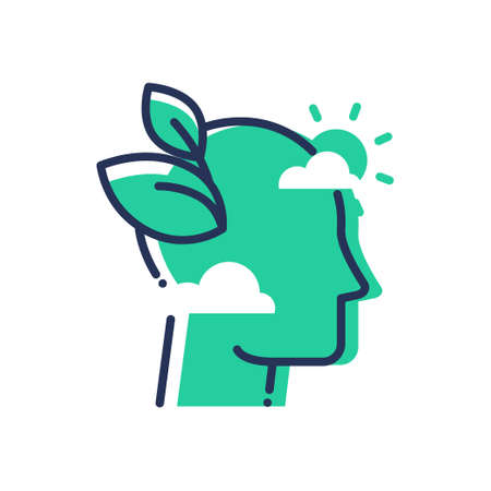 Green Mind - modern vector single line icon. An image of an emerald head in the clouds, sun, leaves. Representation of smart thinking, eco idea, inspiration, hope Illustration