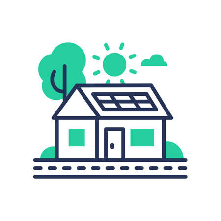 Eco House - modern vector single line icon. An image of a green domicile that runs on ecologically clean energy, tree, sun, cloud, battery. Representation of invention, inspiration, better tomorrow, healthy life Иллюстрация