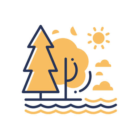 Nature - modern vector single line icon. An image of a forest, sea, ocean, river, trees, sun, clouds. Representation of relaxation, hiking, swimming, rest, joy, roots, virginity of the planet.