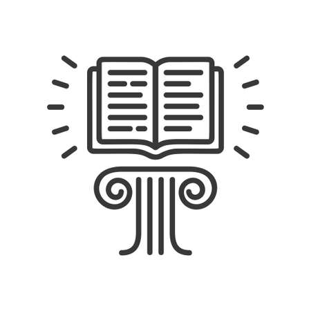 Flying Book - modern vector single line icon. An image of a book floating in the air above the pedestal, lines of text. Representation of education, learning, reading, knowledge. Illustration