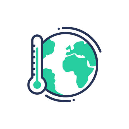 Global warming - modern vector single line icon. An image of a an earth with thermometer, save the planet. Representation of future, concern, warning. Иллюстрация