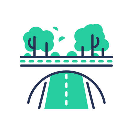 Green Road - modern vector single line icon. An image of a paved emerald way, trees, bushes, forest. Representation of nature, health, eco lifestyle, better tomorrow. Illusztráció