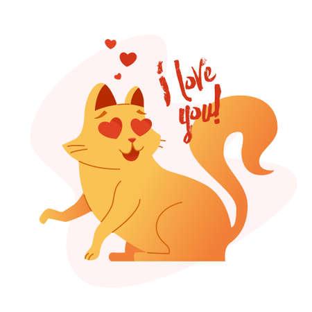 Cat - modern vector phrase flat illustration.
