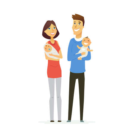lineage: Family - colored modern flat illustration composition.