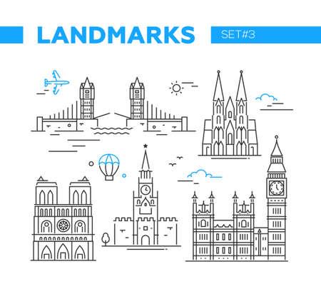 World Famous Landmarks - lijn ontwerp iconen set