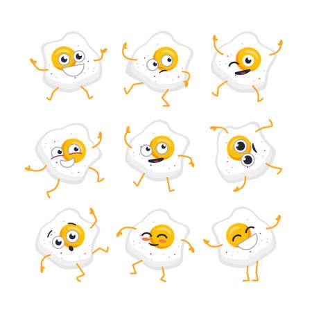 卵の漫画のキャラクターのマスコット イラストの現代ベクトル テンプレート セット。