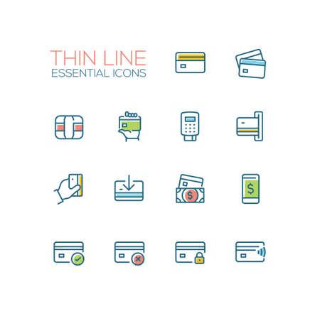 금융 - 현대 벡터 단일 선 아이콘을 설정합니다. 신용 카드, 마이크로 칩, 손, 등록자, 달러 지폐, 휴대 기기, 수표, 거부, 잠금 장치