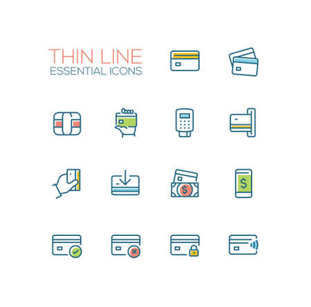 Finance - modern vector single thin line icons set. Credit card, microchip, hand, registrator, dollar bill, mobile device, check, denial, lock Illustration