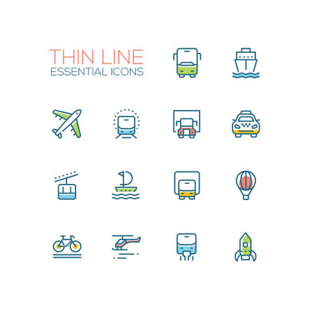 Transport - modern vector single thin line icons set. Bus, ship, plane, train, truck, taxi, tram, sailor, van, balloon, bicycle, helicopter, rocket Иллюстрация