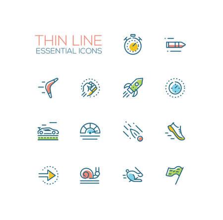 속도 - 현대 벡터 단일 선 아이콘을 설정합니다. 타이머, 총알, 부메랑, 주먹, 로켓, 미터, 자동차, 운동화, 화살, 달팽이, 토끼, 깃발
