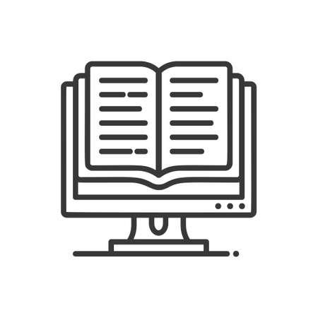 Online education - modern vector single line icon Illustration