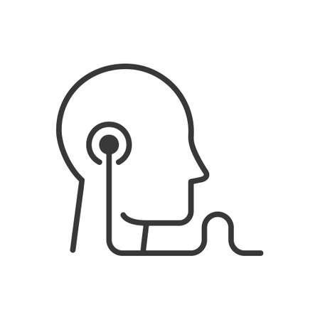Audio education - modern vector single line icon