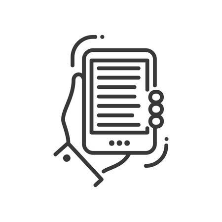 Mobile device - modern vector single line icon