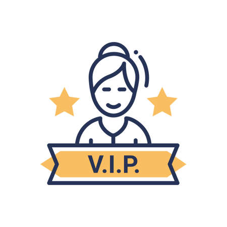 VIP person - modern vector single line icon. An image of a very important person person with a sign and stars.