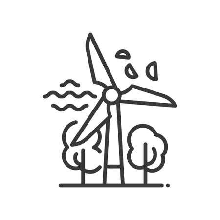 Windmolen - moderne vector enkele lijn pictogram. Een afbeelding van een molen, wind, boom, bladeren.