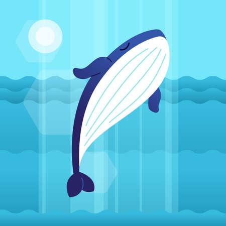 Whale - modern vector flat illustration.