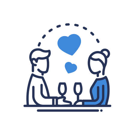 single man: Dinner - modern vector single line icon. Have a romantic evening with your loved one. Woman, man, heart, connection, glass, love, attraction, drink