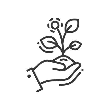 new plant: Life in seed - modern vector single line icon. A hand holding a growing plant that represent new life, striving and aspiring for the better future