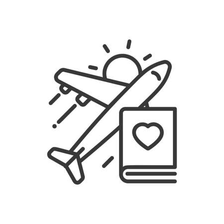 Travel - modern vector single line icon Illustration