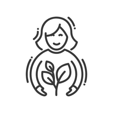 Planting - modern vector single line icon