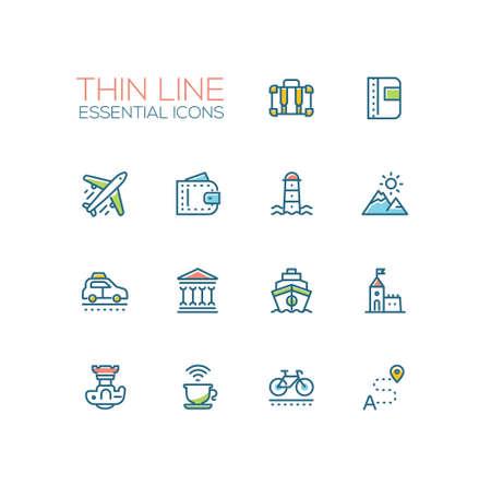 Traveling - line icons set 向量圖像