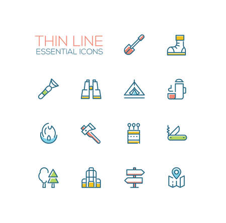 Camping and Hiking - line icons set Illustration