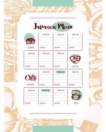 Japanese Food - vintage color hand drawn template menu