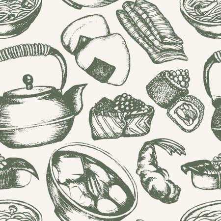 Japanese Food - vintage hand drawn seamless pattern