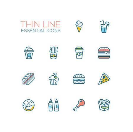 cafe food: Fast Food Cafe Menu Icons Set Illustration