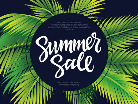 Summer Sale - vector leaflet, brochure, flyer, banner template with hand drawn brush pen lettering and filler text in a circle. Palm tree leaves on black background.