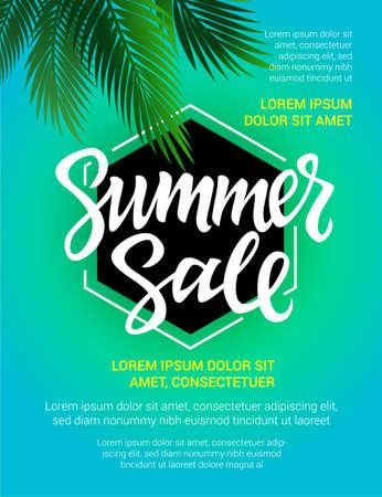 Summer Sale - vector leaflet, brochure, flyer, banner, poster template with hand drawn brush pen lettering on sky blue background with filler text, palm tree leaf. Illustration