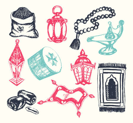 unique characteristics: Muslim Symbols - vintage color vector hand drawn objects composition. Realistic zakat al-fitr, dates, beads, drum, lamp, prayer rug, flying magic carpet, lantern. Islamic traditions, culture. Illustration